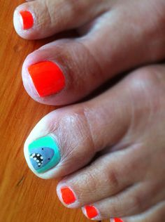 Shark Week Pedi  http://sweetdanib.com/2012/08/shark-week-round-up/