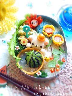日本人のごはん/お弁当 Japanese meals/Bento. 夏の風景弁当。summer bento