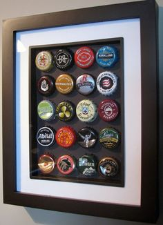 Craft beer bottlecap picture frames...did a trio of these, all with microbrews/local beers we've had over the years.