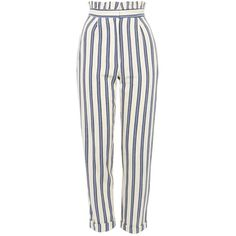 Topshop Stripe Ruffle Peg Trousers (£39) ❤ liked on Polyvore featuring pants, topshop, bottoms, trousers, blue, white trousers, rolled up pants, white pants, peg-leg pants and viscose pants