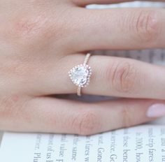 (Want in 18k) Rose gold engagement ring. White sapphire by EidelPrecious on Etsy