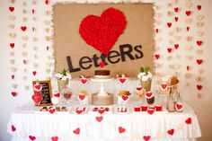 Love Letters dessert/cake/sweets table.  Styling: Little Wish Cakes, Photography by Joanne of Amara Ritchie Photography