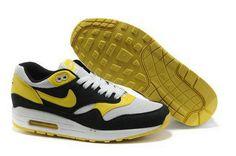 Men's Nike Air Max 1 White Black Yellow UK G8wE52