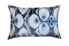 "TOP PICK Lisa Ferguson www.lisafergusondesign.com Diodba-Silk Velvet Ikat Pillows Hand-Loomed Silk Velvet Ikat Pillow - Three Eyes Ikat resist-dyed and hand-looped silk velvet luxury pillow. 15 x 25"". Grey, blue, cream three eye design. Double-sided velvet, lined with zipper imported from Turkey. 10% down/90% feather insert made in USA. #HPmkt"