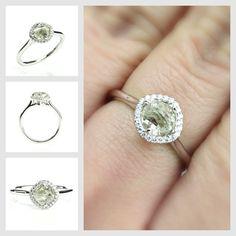 Unique diamond engagement ring with micro pave diamond accents. #uniquering #luxuryjewelry #bridaljewelry