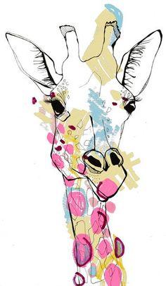 Ce poster est une belle source pour un projet Zendoodle à touche exotique: reproduisez cette giraffe sur un fond abstrait.