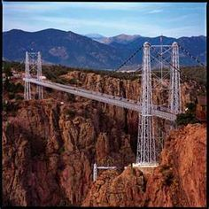 """Royal Gorge Bridge in Canon City, Colorado. It's a real trip walking across that bridge with it's wooden slats - you can see the Arkansas River way below you! (There is a sign on the bridge that says, """"No Fishing From Bridge"""" . I kid you not! Places To Travel, Places To See, Travel Stuff, Le Colorado, Colorado Springs, Colorado Vacations, Colorado Winter, Visit Colorado, Lakes"""