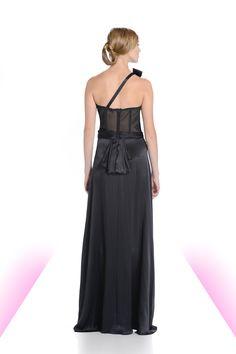 Black stretch mesh half corset and low ruffled detail.  #black #corset #eveningwear #gown #dress #michaeldepaulo