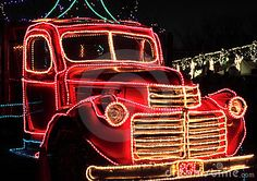 Vintage Truck Decorated Holiday Lights Stock Image - Image of classic, antique: 22651383 Christmas Float Ideas, Christmas Parade Floats, Christmas Truck, Outdoor Christmas, Christmas And New Year, Red Christmas, Vintage Christmas, Christmas Time, Holiday Lights