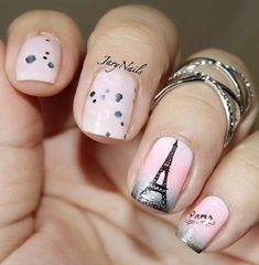 Pink and  Eiffel Tower - romantic French maricure