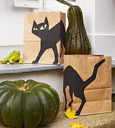 Dress up paper bags with a paper black-cat silhouette. Use battery-operated candles to illuminate them. Download the template at parents.com/black-cat.