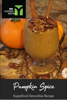 Pumpkin Spice Superfood Smoothie Recipe! Extremely healthy superfood smoothie.  Contains over 10 different superfoods in the Ancient Delight Superfood Mix we are using. Click on the image for the recipe. #mnasmoothie