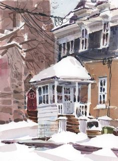 back porch Shari Blaukopf Watercolor Painting Techniques, Watercolor Journal, Watercolor Paintings, Watercolours, Watercolor Architecture, Watercolor Landscape, Art And Architecture, Urban Sketchers, Winter Art