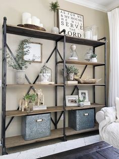 Our large shelving unit in our living room was starting to get a little cluttered, so over the weekend I took everything off and decided to simplify.I dusted everything and choose only my favorite … Living room shelves Room Design, Decor, Living Room Decor, Furniture, Modern Farmhouse Living Room Decor, Interior, Farmhouse Living, Shelf Decor, Farmhouse Style Living Room