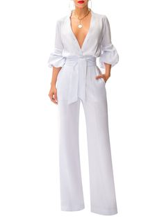 """""""Catalina"""" White Button-Down Jumpsuit Classy Outfits, Chic Outfits, Dress Outfits, Fashion Dresses, Women's Fashion, Pantsuits For Women, Jumpsuits For Women, Outfit Elegantes, Jumpsuit Dressy"""