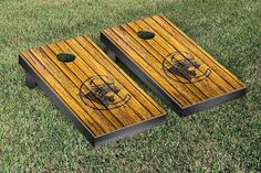Medgar Evers Cougars Weathered Wood w/ Logo Cornhole Board & Bag Set