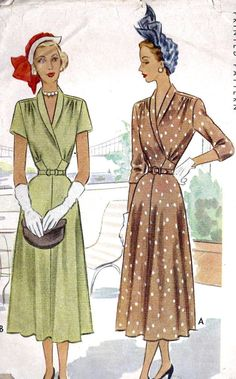 1940s Misses Dress Vintage Sewing Pattern by MissBettysAttic, $22.00