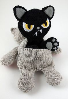 The fabulous Caffaknitted (Katie Boyette) knows that some days you just have to RELEASE YOUR BAD KITTY! So here's her pattern for 2-in-1 transformer doll!