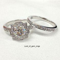 Art Deco Moissanite and Diamond Wedding Ring set, 14K White Gold Halo Engagement Ring.$895 #wedding