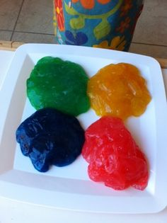 RAINBOW SLIME  1 1/2 cups of CLEAR glue and 1 1/2 cups of liquid starch.  You mix it all together, separate the slime into a few small bowls and add a few drops of food coloring to each bowl.