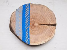 Seaside Wooden Brooch Blue and Grey Chevron by Gx2homegrown,