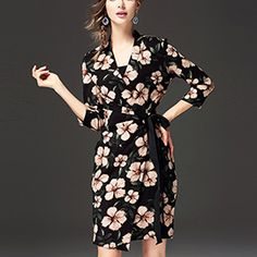 ebbd6e76509 HIGH-END PRINT V NECK BLACK LONG SLEEVE A LINE DRESS Old   81.56 Now   48.91