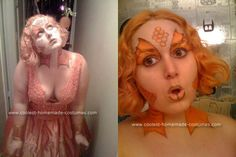 Although this goldfish costume is a little abstract the color and design of the dress combined with her beautiful face makeup, it gets the idea across Pirate Halloween Costumes, Couple Halloween Costumes For Adults, Mardi Gras Costumes, Costumes For Teens, Adult Costumes, Couple Costumes, Diy Fish Costume, Goldfish Costume, Costume Ideas