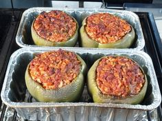 Wood Pellet BBQ Grill Stuffed Bell Peppers