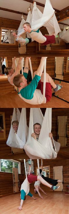 Antigravity yoga. This looks like so much fun! As long as the fabric was clean and not covered with someone else's sweat; am thinking of the gross mats at the gym....