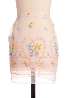 """Vintage Handle With Care Apron. """"Fragile content inside: my heart!"""" This flirty, feminine, sheer pink apron will look dainty and dazzling tied around your waist.  #modcloth"""