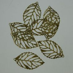 50 pcs of antiqued Brass finished leaf filigree focal by gemplus24, $4.95