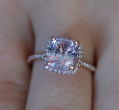 Ice Peach Sapphire Ring 14k Rose Gold Diamond by EidelPrecious