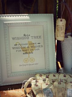 Baby Shower Wishing Tree with free printable sign and tags from myfabulesslife.blogspot.com