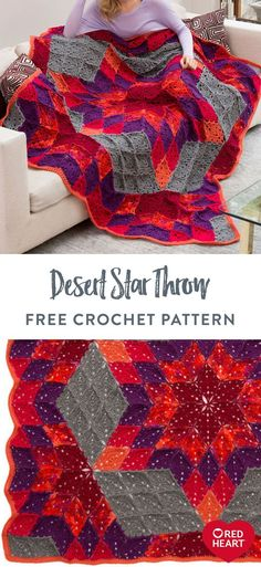 Desert Star Throw free crochet pattern in Red Heart Super Saver yarn. The classic desert star quilt pattern has inspired this stunning crochet throw in shades of Red Heart Super Saver. There may be a lot of diamonds and triangles to crochet, but they're joined-as-you-go and the results are spectacular! Choose the colors that tell your story, or take the guesswork out and make the gorgeous interpretation shown. It's a project that's sure to earn you compliments. Crochet Quilt Pattern, Baby Afghan Crochet, Crochet Blanket Patterns, Free Crochet, Crochet Blankets, Knitting Blankets, Star Quilt Patterns, Red Heart Patterns, Web Patterns
