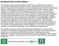 Budapest Open Access Initiative: The original statement defining and supporting Open Access