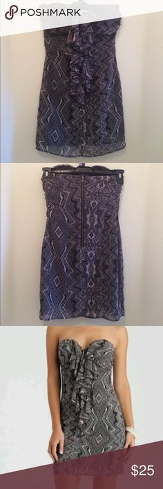"""NWOT GUESS STRAPLESS PRINTED SHEER DRESS SIZE 3 Strapless, sweetheart neckline, ruffled detail, printed, center back zip closure, sheer material, lined.. 100% Polyester... Measurements taken across laying flat.. bust(underarm to underarm)-15 1/2"""", waist-12 1/2"""", hips-18"""", length(underarm to hem)-25"""".. *****Dear customers: labels located inside the dress have been cut in half. This procedure is done to prevent store return ******* Guess Dresses Strapless"""