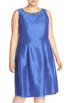 Tahari Embellished Neck Fit & Flare Dress (Plus Size)