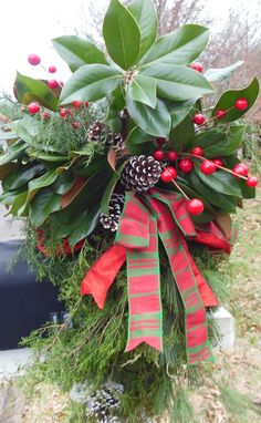 Red & Green Plaid Ribbon, Pine Cones, and Berry Sprays with Magnolia and other Greenery - Christmas Mailbox