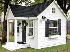 Shed Playhouse, Playhouse Interior, Backyard Playhouse, Wooden Playhouse, Backyard Sheds, Small Cottage Homes, Small Tiny House, Mini Shed, Luxury Playhouses