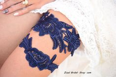 Liga novia azul oscuro de la liga, Liga de novia, Liga de encaje azul, Liga nupcial Set, azul Liga algo azul, boda, ligas hechas a mano