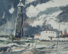 'Dungeness Lighthouse, Romney, Kent' by Charles Shearer (gouache) Landscape Art, Landscape Paintings, Landscapes, John Piper, Painter Artist, Royal College Of Art, 2d Art, Fine Art Gallery, Lighthouse