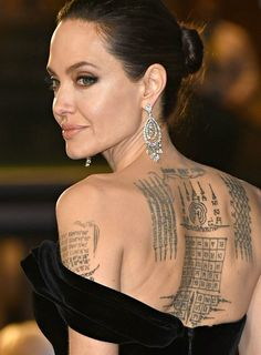 """le-jolie: """"""""Angelina Jolie attends the EE British Academy Film Awards at Royal Albert Hall in London - 18 February, 2018 """" """" Back Tattoo Women, Back Tattoos, Tattoo Girls, Girl Tattoos, Tattoos For Women, Celebrities With Tattoos, Celebrity Tattoos Women, Lover Tattoos, Celebrity Beauty"""