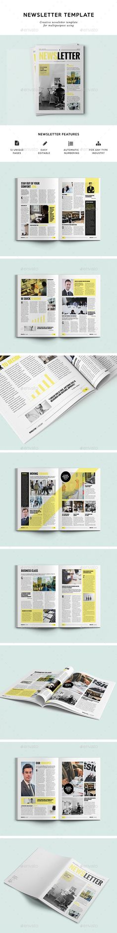 12 Pages Corporate Newsletter Template InDesign INDD. Download here: http://graphicriver.net/item/12-pages-corporate-newsletter/16307550?ref=ksioks