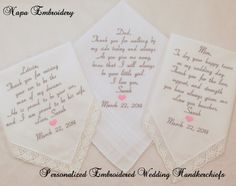 3 WEDDING GIFTS for Mom Dad and Mother in law Embroidered Wedding Handkerchiefs by Napa Embroidery, $73.95