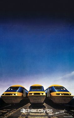 'Inter-City 125, the Journey Shrinker', BR poster, 1979. Poster produced by British Rail to advertise their expres trains between York and London, showing three trains in foreground and deep blue sky in background. Printed by Impres (Acton) Ltd.jul16