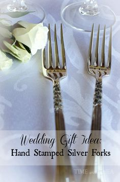 Hand Stamped Silver Forks Wedding Gift ~ A unique and custom made wedding gift to give to the bride and groom to commemorate their special day.