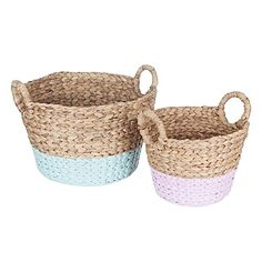 Style your practical storage options in delightfully contemporary pastel tones and rich texture with the Arrow Weave Round Storage Basket (Set of 2) from Zanui.