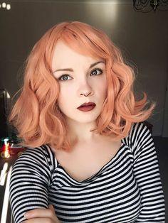 Wavy Bob Fringe Peach Orange Pastel Lush Wig - Worldwide Tracked Delivery