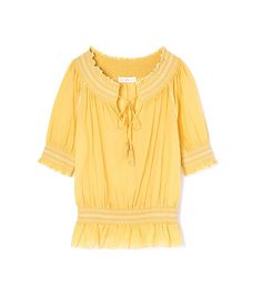 Tory Burch Smocked Cotton Peasant Top