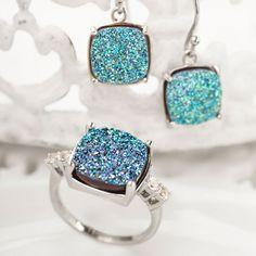 Drusy #quartz #earrings (#YYH001) and #ring (#AJH070)